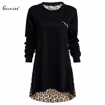 PEAPGB2 Casual Loose Plus Size Women Top Round Collar Thin Leopard Spliced Full Sleeve Pockets O Neck Stylish Spring Autumn Women Blouse