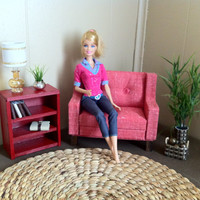 Doll Furniture -Sofa - Playscale / 1:6 Scale  for Barbie, Fashion Royalty, Blythe, Monster High - Traditional Red Sofa