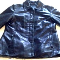 Vintage Ladies Women's Coach Classic Black Leather Car Coat Jacket Size Small
