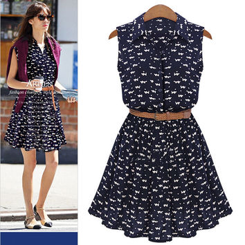 New Fashion Summer Dresses European Style Lady Cat Footprints Sleeveless Vestidos Casual Women Dress PDL8032