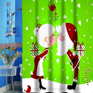 "Merry Christmas Bathroom Wish Collection Holiday Fabric Shower Curtain (70"" x 72"") - Santa and Mrs. Claus Kissing"