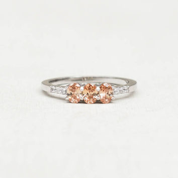 Petite 3-Oval Ring - Silver + Champagne