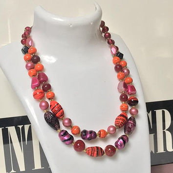 Vintage 1960s JAPAN Signed Double Choker Necklace / Red Orange Pink Two Strand Necklace / Japanese Mixed Glass Swirl Bead Necklace / 50s 60s