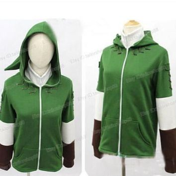 The Legend of Zelda Link Hoodie Zipper Coat Jacket Hooded Sweater Cosplay Costume
