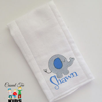 Baby Burp Cloth Embroidered with Elephant Critter and Baby's Name Personalized Spit Up Cloth Custom Burp Cloth
