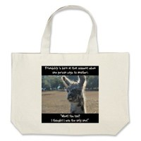 Funny llama, Friendship Quote on tote bag from Zazzle.com