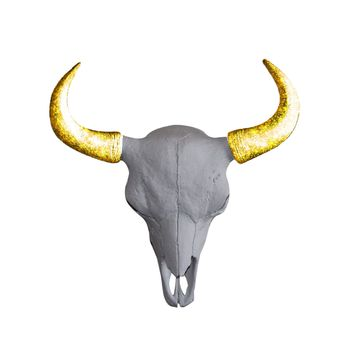 The Mini Yellowstone Skull | Buffalo Bison Skull | Faux Taxidermy | White + Gold Glitter Horns Resin