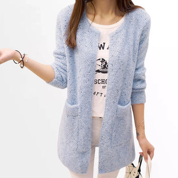 Long Cardigan Women 2016 New Fashion Autumn Winter Sweater Women Long Sleeve Knitted Cardigan Female Tricot Women Clothes