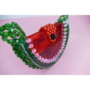 Mini Watermelon Slice Lucite Beaded Handbag