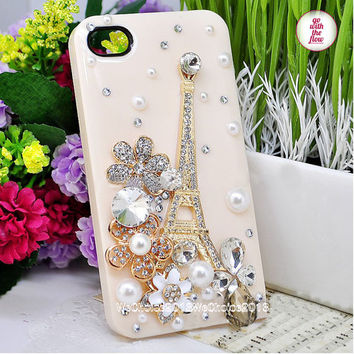 Free Phone Case & Sparkly Eiffel Tower Flower Gem Pearl DIY Deco Kit Decoden Kit Cabochon Deco Kit For DIY Cell Phone iPhone 4G 4S 5 Case