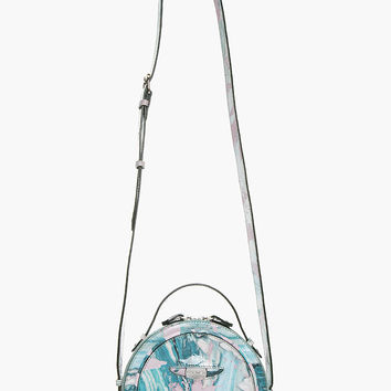 TEAL PATENT LEATHER MARBLED ROUND SHOULDER BAG
