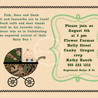 Handmade Boy Baby Shower Party Invitation Mossy Oak Camo Themed Printable Invitation 5x7 Digital DIY Baby Shower Card party Invitation