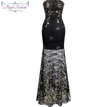 Angel-fashions  Long Prom Dresses  Vintage 1920s Sequin Lace Mermaid Long Evening Dress See Through Black R-170106