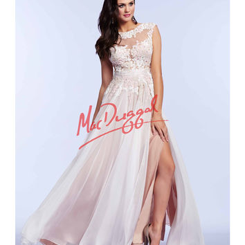 Mac Duggal 10022M Beautiful Ivory Lace Open Back Gown Prom 2015