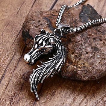 Mens Horse Necklaces Stainless Steel Pony Mustang Animal Pendant Necklaces in Silver-Color Charm Fashion unisex Jewelry collier