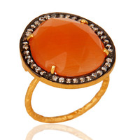 Solid 925 Sterling Silver CZ AND Peach Moonstone Ring With Gold Plated