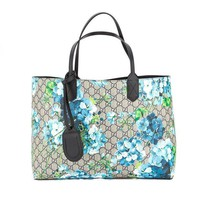 DCCKUG3 Gucci Blossoms Blue Navy Reversible GG Blooms tote Leather Handbag Bag New