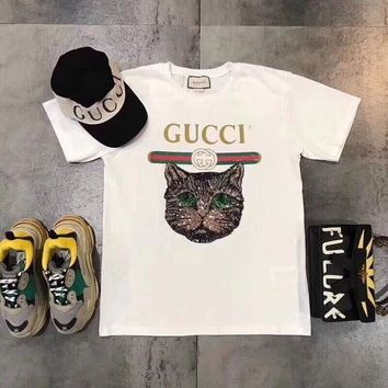 Gucci Women Casual Letter Print Embroidery Sequin Cat Head Short Sleeve T-shirt Shirt Top Tee G