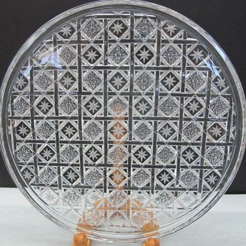 Hand Cut glass plate crystal signed