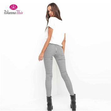 WannaThis 2017 Plaid Pants Women Casual High Waist Skinny Long Pencil OL Office Lady Elastic Trousers Slim Cotton Work Pants