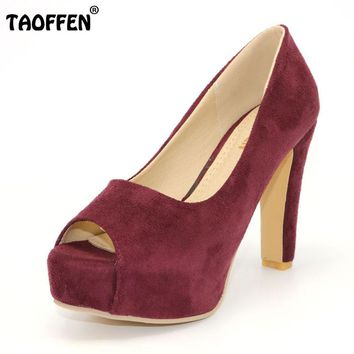 TAOFFEN women peep open toe high heel shoes suede lady quality platform fashion heeled sexy pumps heels shoes size 32-43 P16650