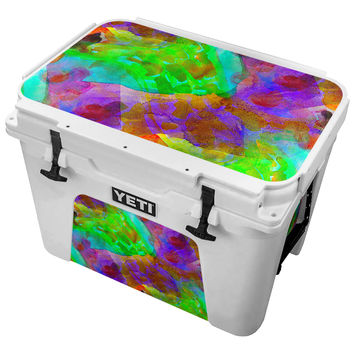 Purple and Green Watercolor Painting Skin for the Yeti Tundra Cooler