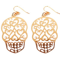 Sugar Skull Cutout Tin Material French Hook Earrings