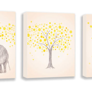 Baby Nursery Decor - Set of Three Canvases - Yellow and Gray - Baby Elephant and Giraffe - Watercolor Animal PRINTS - Neutral Color Nursery