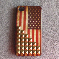Vintage Flags iPhone 4s CaseStudded iPhone 4 by STUDDEDCASESBAR