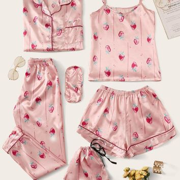 7Pcs Strawberry Print Satin Pajama Set