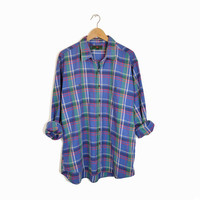 Vintage Abercrombie & Fitch Plaid Shirt in Blue - men's xl