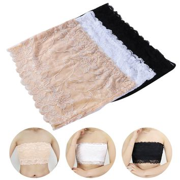 3pcs Women's Floral Lace Stretchy Strapless See Through Bandeau Tube Top with Bra