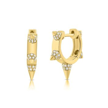Five Spike Diamond Hoop Earrings