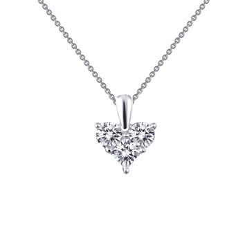 Lafonn Classic Sterling Silver Platinum Plated Lassire Simulated Diamond Necklace (1.11 CTTW)
