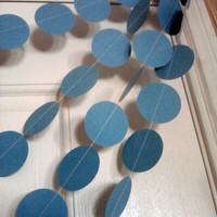 Turquoise  Paper Circle Garland Perfect for Weddings, Bridal or Baby Showers, Birthdays, Parties, Any Occasion, 10 Feet Long!
