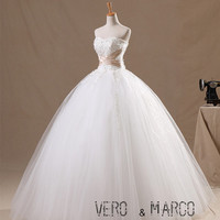 Vintage sweetheart neckline gold knot sash long ball gown tulle satin lace plus size Christmas wedding dress ET107