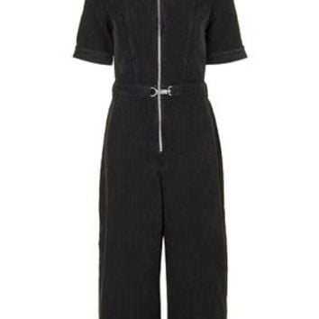 MOTO Cord Culotte Jumpsuit - Washed Black