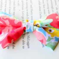Pink Bow Clip, Floral Bow, Floral Print, Shabby Chic Hair Accessories, Party Favors, Birthday Gift, Little Girl Hair Clips