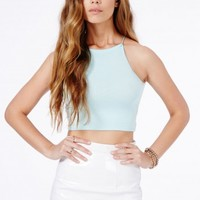 Missguided - Mintare Spaghetti Strap Crop Top In Baby Blue