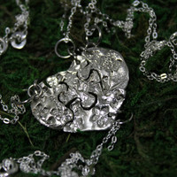 Silver Heart Shaped Puzzle Set of 4 necklaces Flower Blossom Design Best Friend Bridesmaid Jewelry Set 302