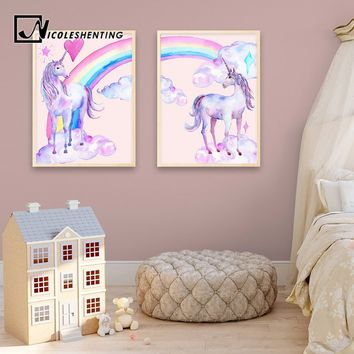 Cartoon Pink Rainbow Unicorn Canvas Poster Watercolor Pegasus Frameless Wall Art Canvas Painting Nordic Baby Kids Room Home Deco