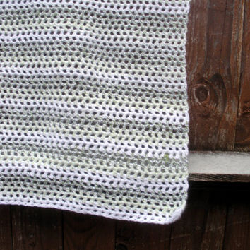 Crochet Toddler Afghan blanket, kids blanket in green and white stripes, ready to ship.