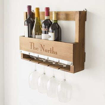 Personalized Rustic 5 Bottle Wall Mounted Wine Bottle Rack