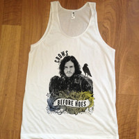 American Apparel Unisex (mens womens) Tee Tank White - Game of thrones inspired crows before hoes
