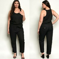 2X 2XL 18 20 Plus Size Black Jumpsuit Romper