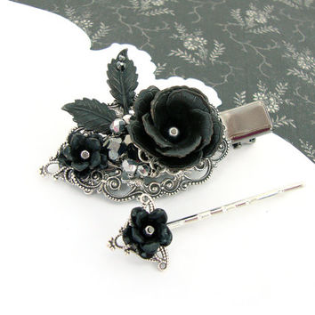 Gothic Lolita Hair Clip - Black Rose Hair Accessories - Antique Silver Hematite Black Flower - Gothic Wedding Victorian Filigree Hair Clip