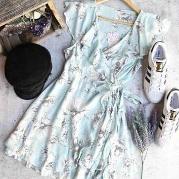 free people - french quarter floral mini wrap dress - mint