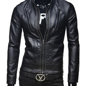 Black Zipper Design PU Leather Jacket