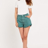 Urban Renewal Vintage Customised Overdyed Wasabi Raw Edge Denim Short - Urban Outfitters