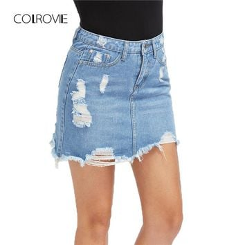 COLROVIE Casual High Waist Denim Skirt Blue Light Wash Women Distressed Mini Pencil Skirt Sexy Ripped 5 Pocket Summer Skirt